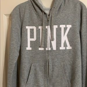 PINK zip up grey hoodie